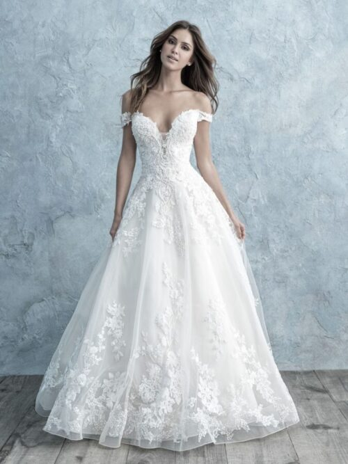 lace off-shoulder a-line wedding dress