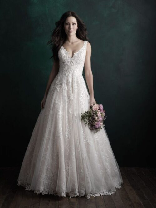 beaded embroidery a-line wedding dress