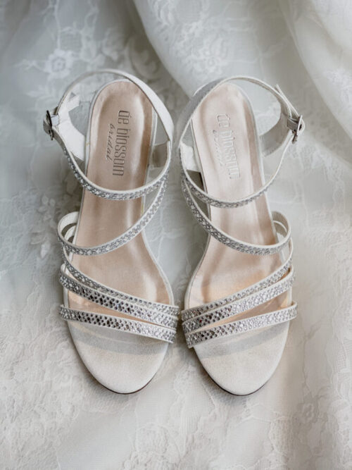 bridal wedge shoes with straps and diamonds
