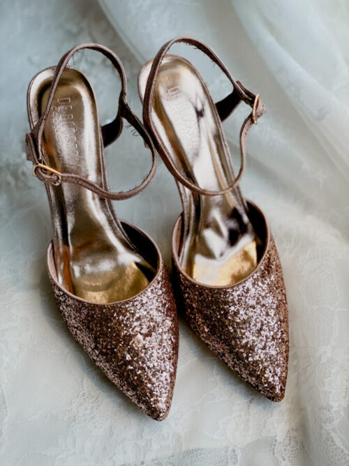 copper glitter pointed toe heel