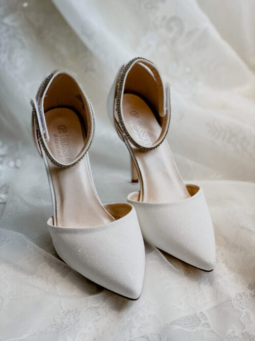 gem ankle strap wedding shoe with pointed toe for bride