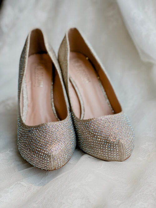high heeled beaded bridal heel