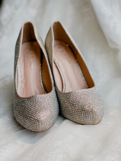 high heeled beaded bridal heel