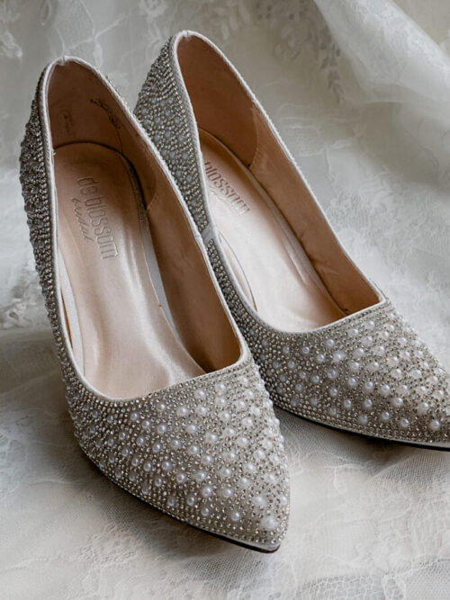 pearl detail pointed toe heels for brides on wedding day