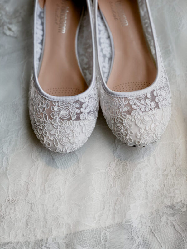 lace flat shoes for bride