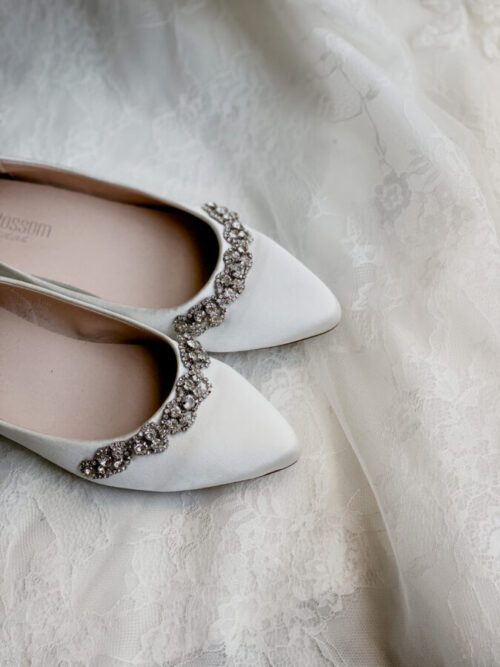 flat satin bridal wedding shoe with gems