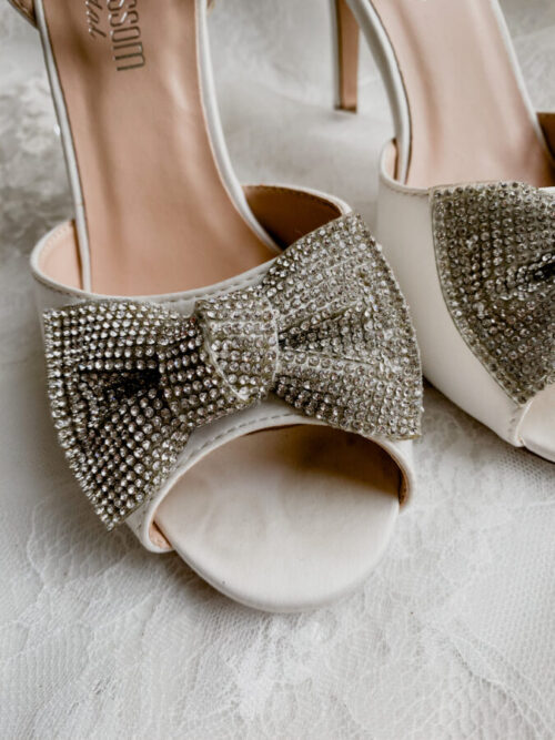 ivory and diamond bridal shoes for wedding day in ivory