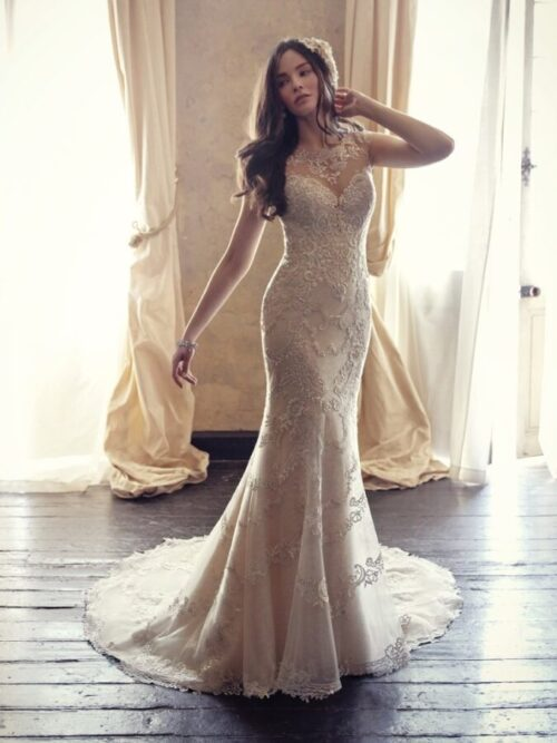 Embroidered Lace Fit-and-Flare Wedding Gown