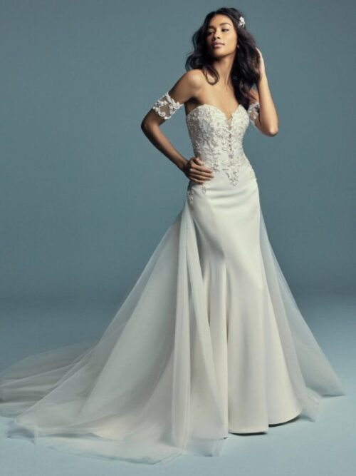 Crepe Fit-and-Flare Wedding Gown