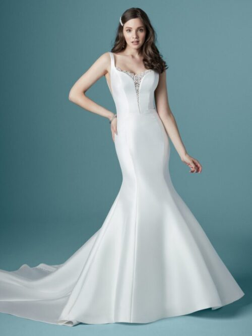 mikado fit-and-flare wedding dress