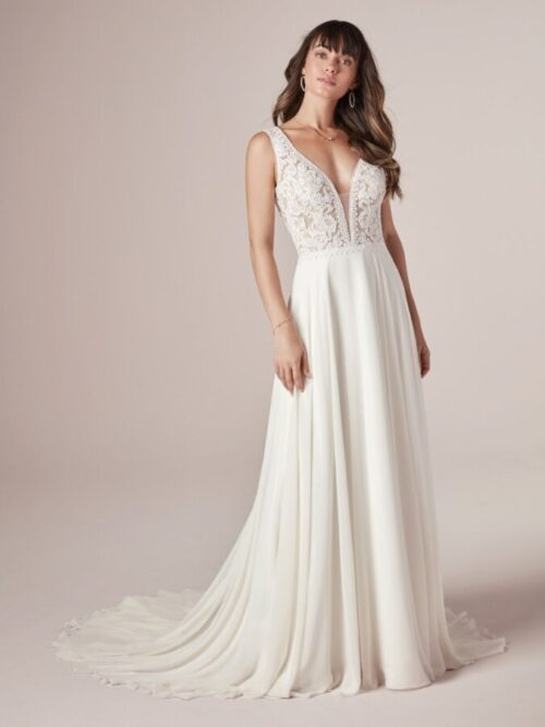 lace chiffon sheath wedding dress