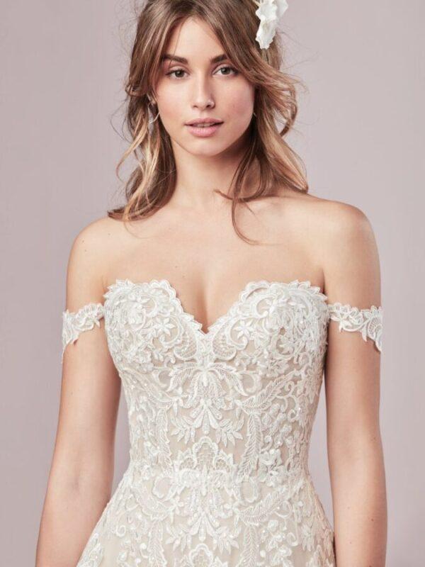 Off-the-Shoulder A-Line bridal gown