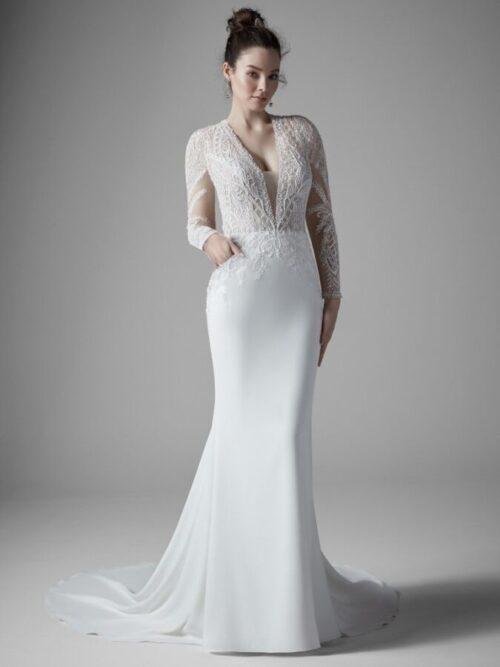 Long Sleeve Sheath Wedding Dress