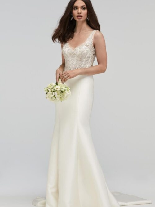 beaded mikado fit and flare wedding dress