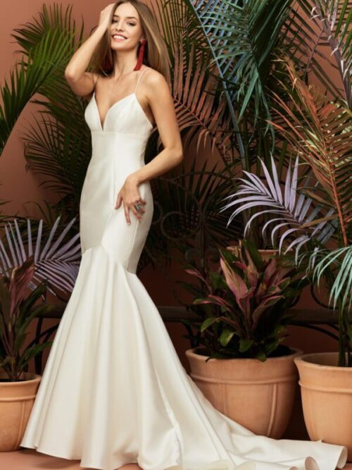 mikado trumpet wedding dress