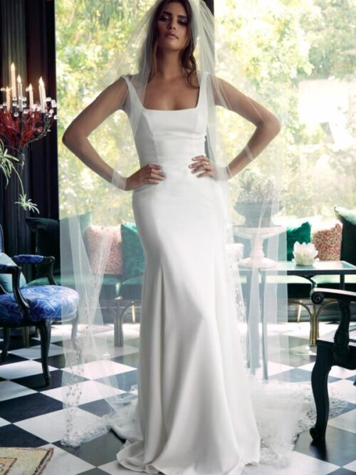georgette sheath wedding dress