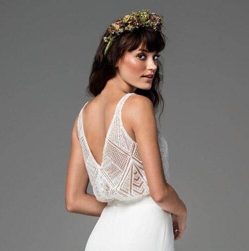 beaded geometric lace bridal tank separate