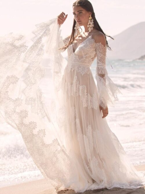 boho lace a-line wedding dress