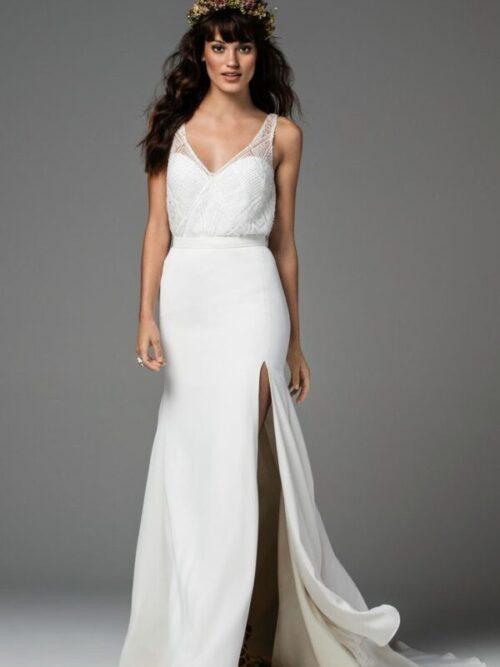 crepe sheath bridal skirt separate
