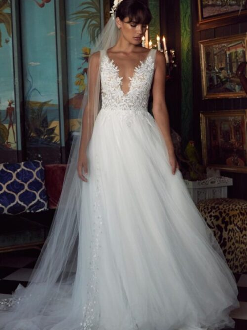 lace and tulle a-line wedding dress