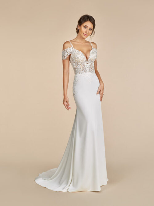 Crepe and Lace Mermaid Wedding Dress