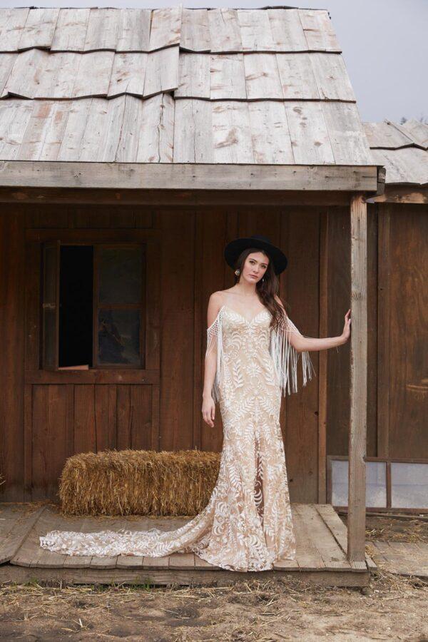 fringe slim wedding dress