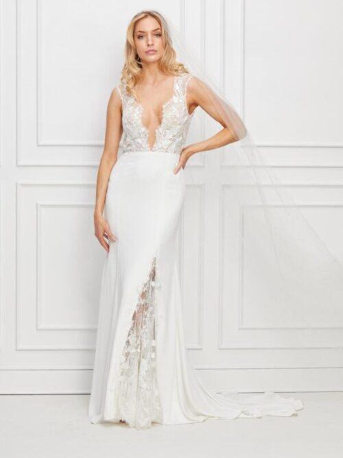 vneck wedding dress