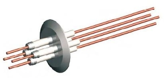 Electrical feedthrough for high vacuum and ultra-high vacuum applications