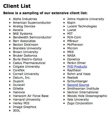 Referral list of vacuum chamber customers