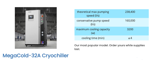 MegaCold 32A water vapor cryopump to replace a Polycold