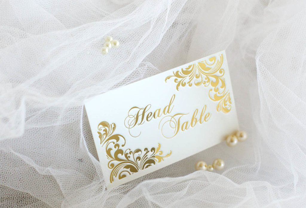 head table card with gold foil