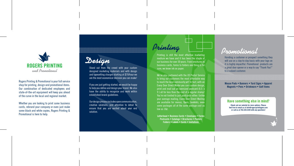print layout for a promotional brochure