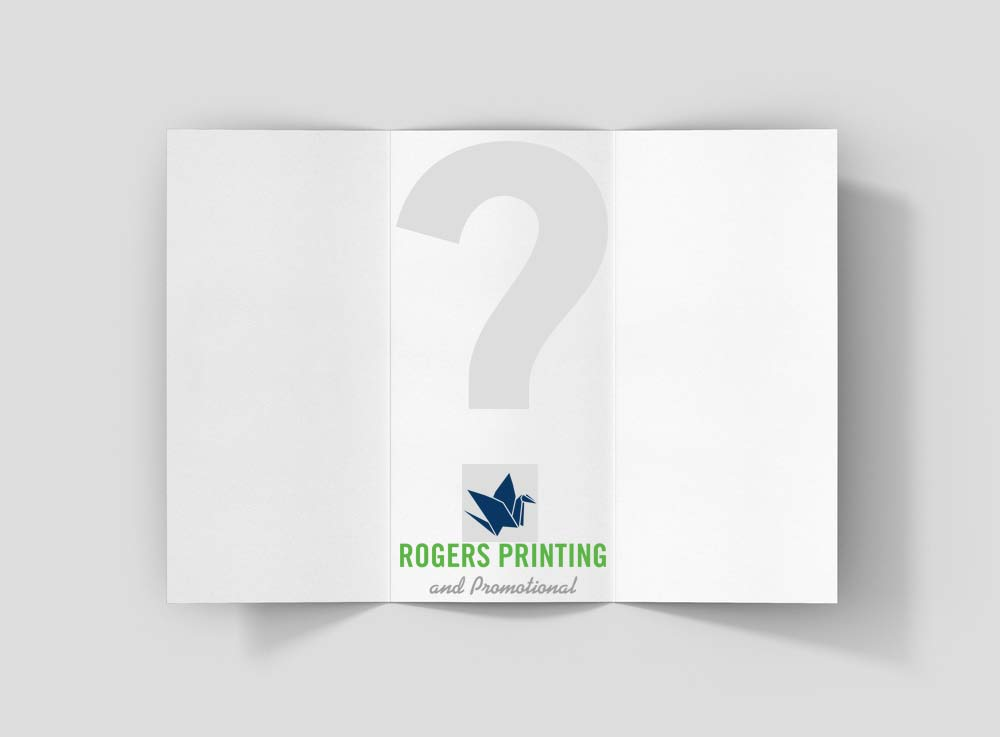 blank brochure with a question mark
