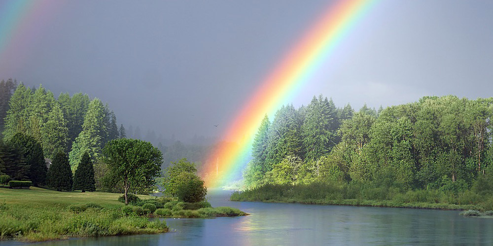 rainbow on a lake