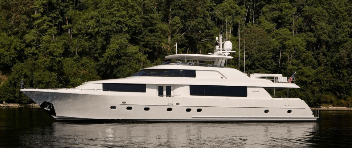 A high-end yacht docked