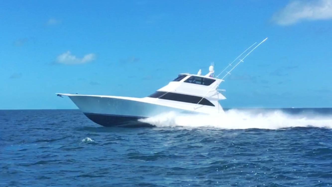 A Hooleygan yacht on high speed
