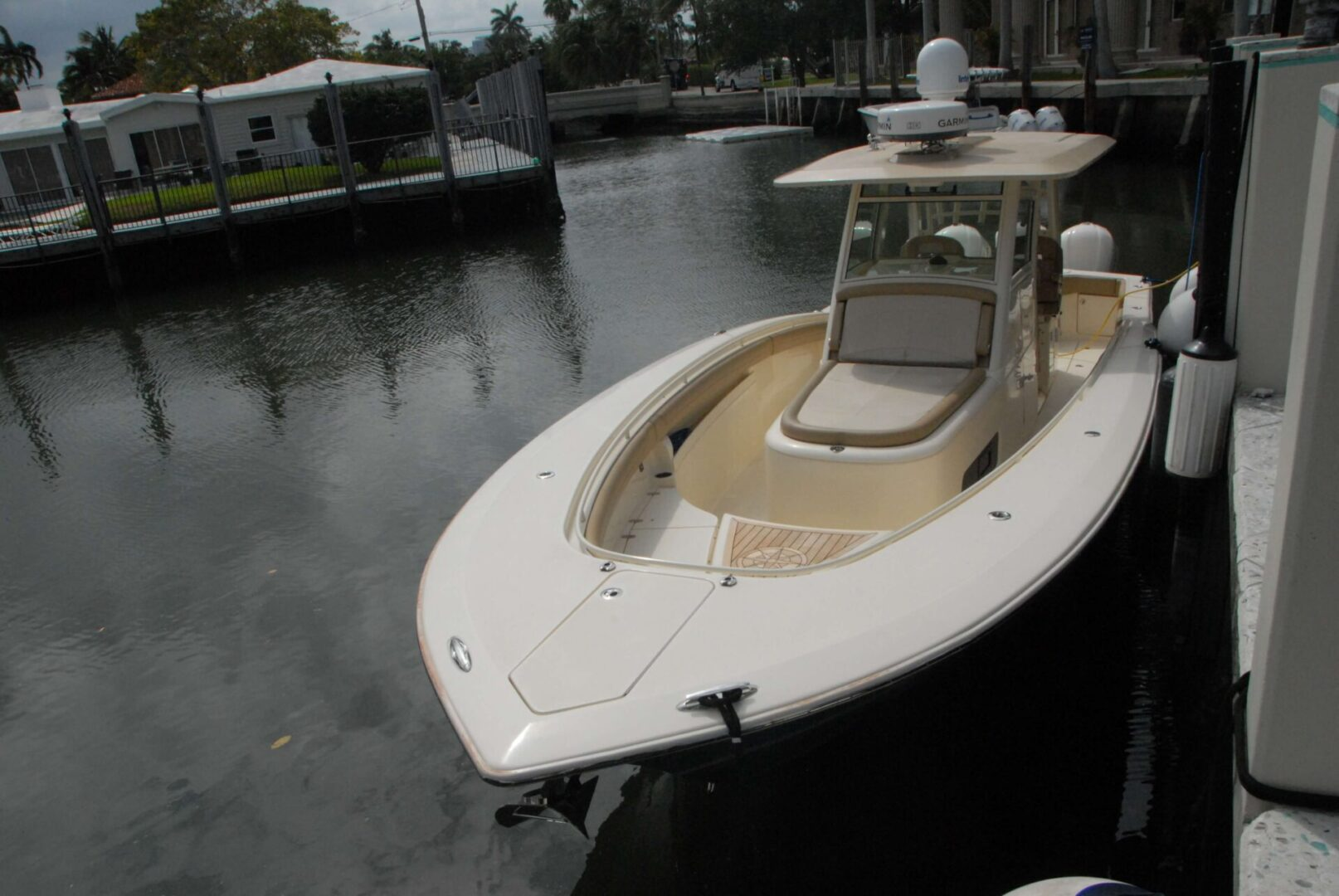 A docked Scout yacht