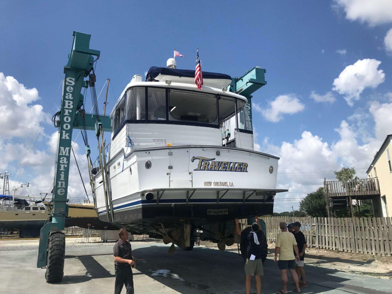 A Traveller yacht hoisted up
