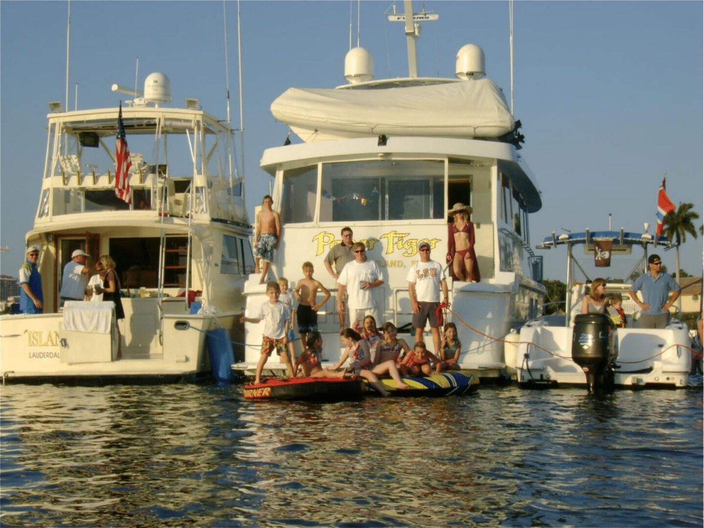 Families on yachts