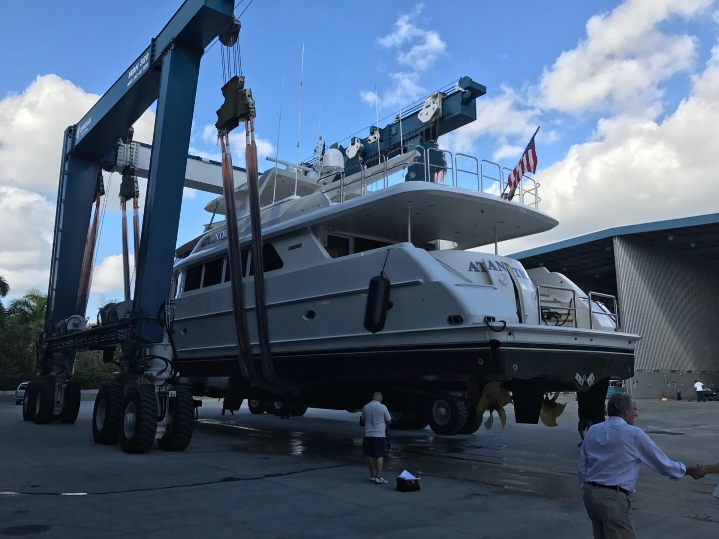 An Atlantic yacht being transported