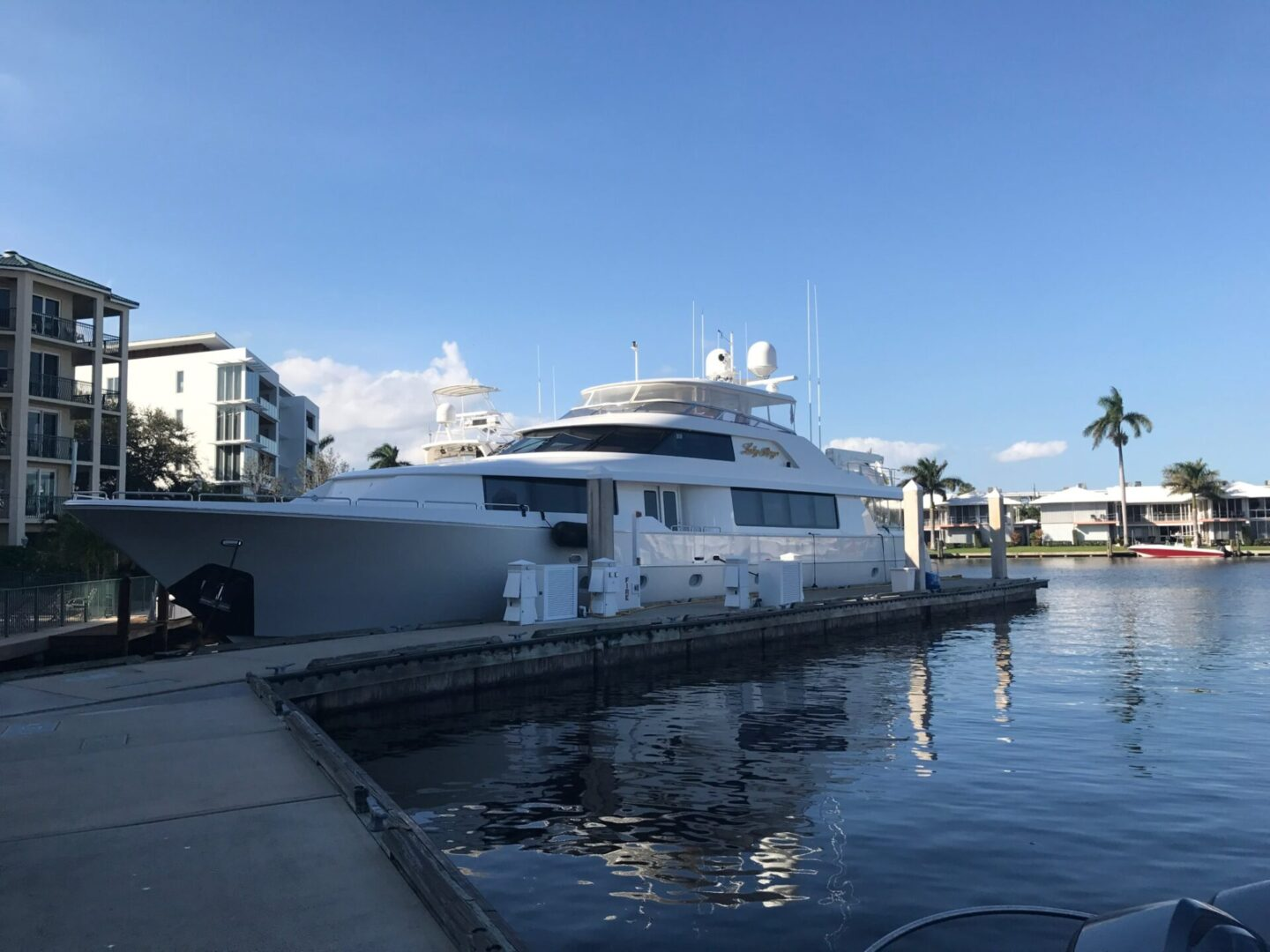 A Lady Raye docked at the pier