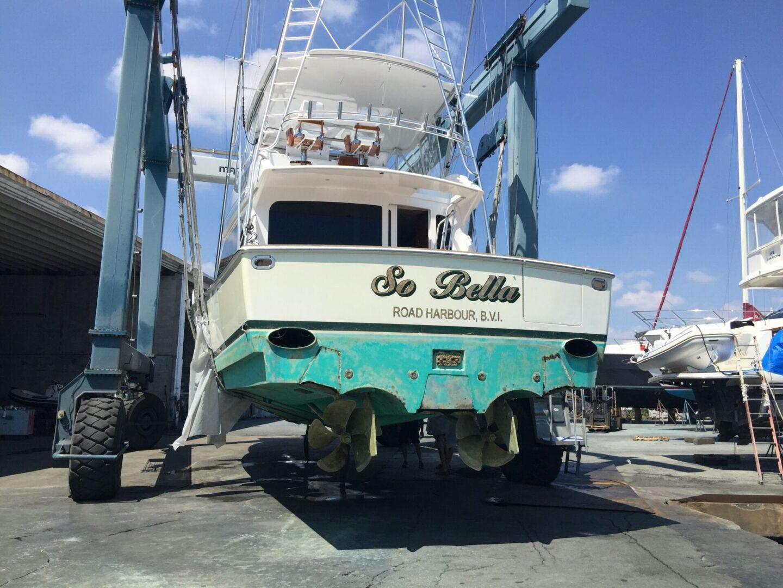 A So Bella yacht at the yard