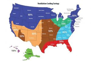 map of america with ventilation cooling savings by region