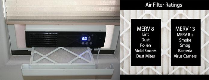 MERV 8 and MERV 13 filter ratings. MERV 13 also filters smoke, smog, bacteria, and virus carriers