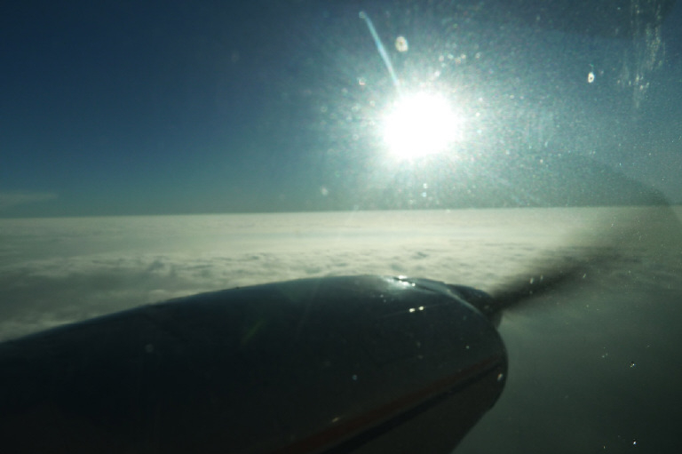 Sun above the clouds.