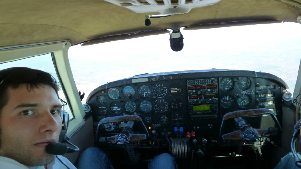 A pilot and airplane console.