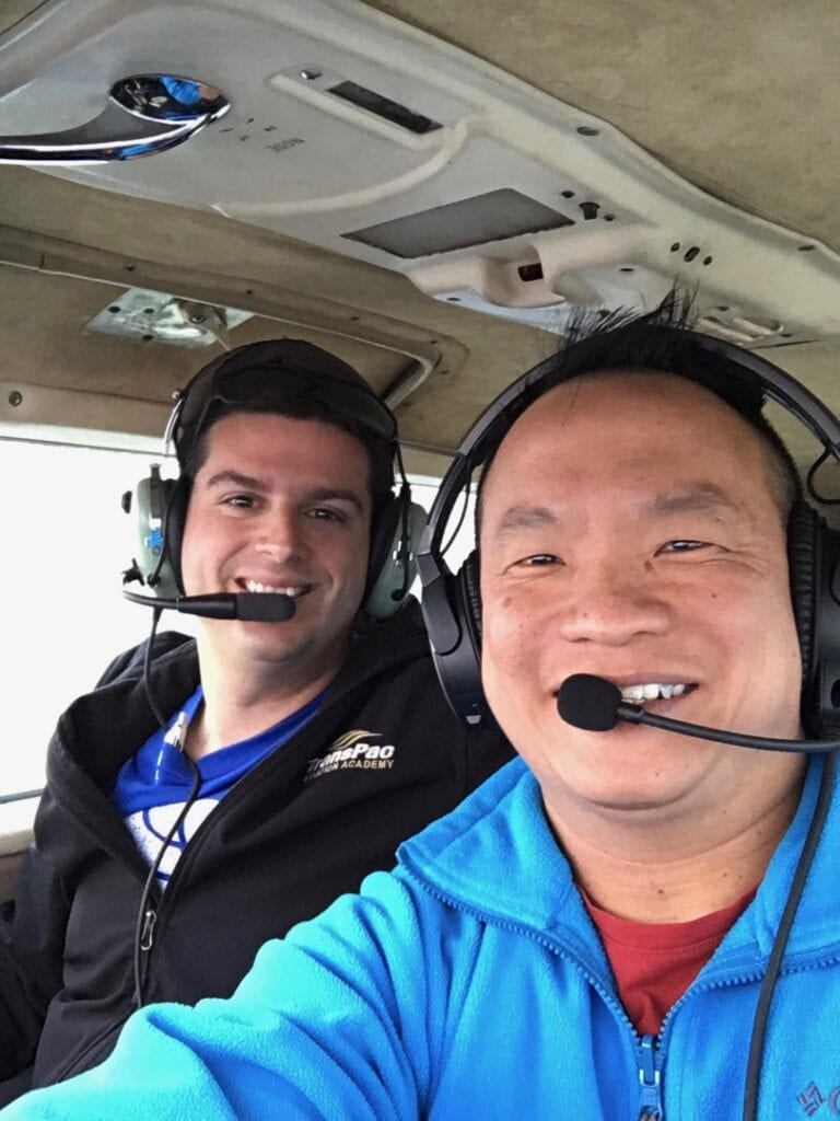 Two pilots flying a plane.