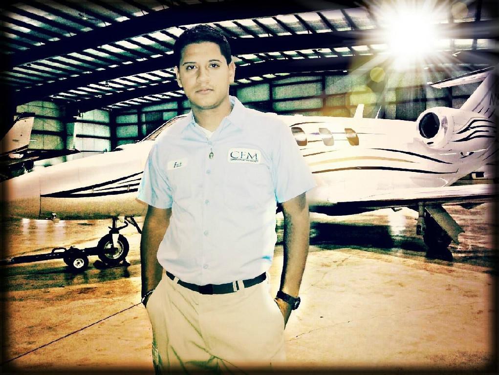 A pilot inside the hangar.