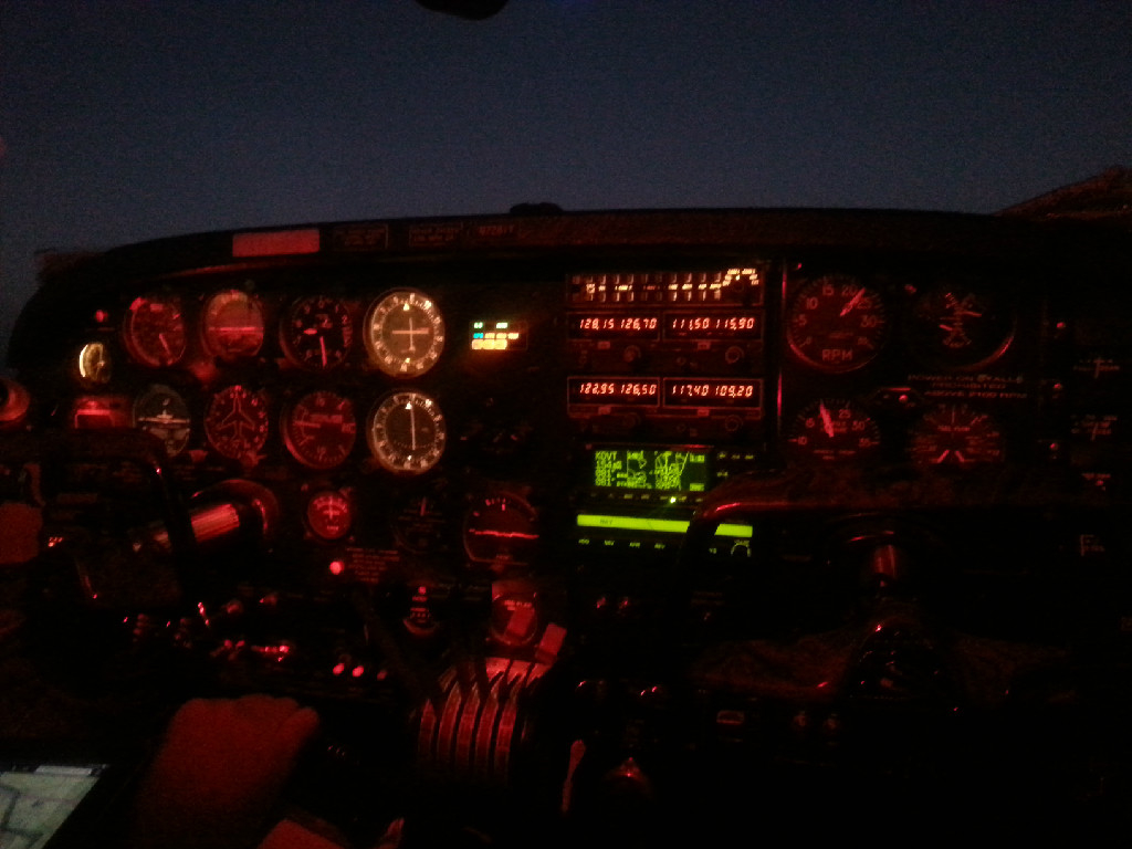 Airplane console at night.