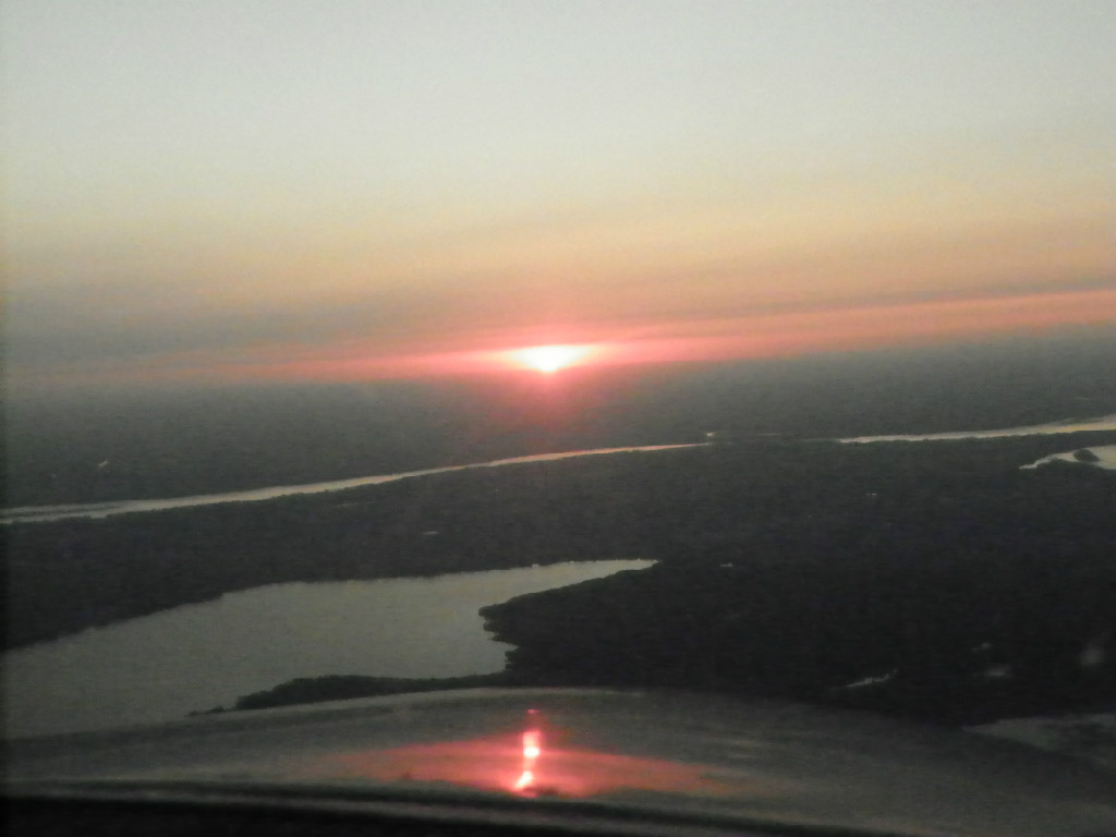 Aerial view of the sunset.